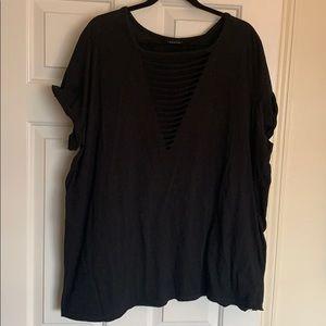 Torrid black T-shirt with destruction feature